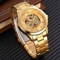 Nuevos Hombres de Lujo Relojes Mecánicos de Oro Logotipo de la Marca Vestido de Los Hombres Automático Esquelético Relojes SHENHUA Clásico Romano Reloj