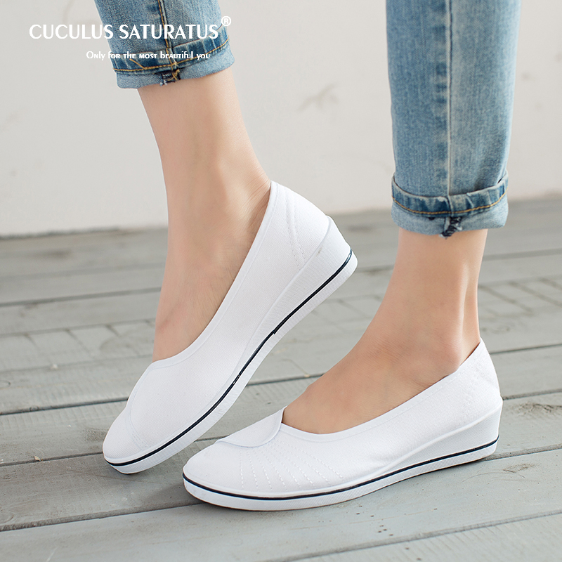 Cuculus Women Loafers Soft Slip On Canvas Flats Shoes Woman Solid Casual Breathable Shoe For Mother Platform Shoes 804 стоимость