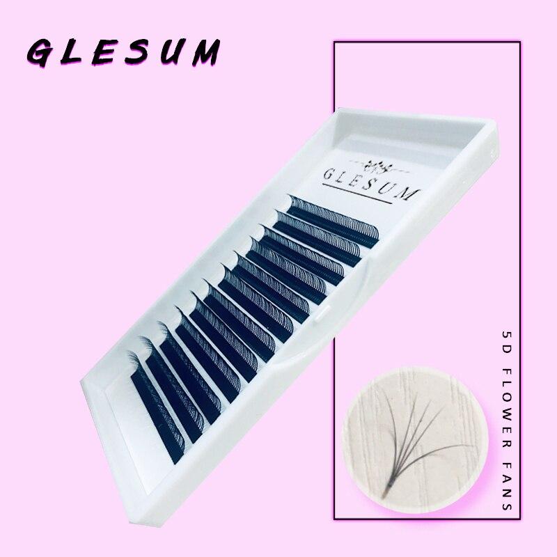 Glesum 2019 New Arrived Premium Quality Handcrafted 5D Easy Fan Flower God Eyelash Order Black Matt Eye Lashes Extensions