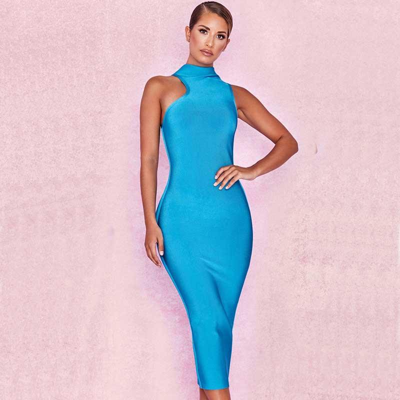 Wholesale 2019 new dress sky blue Stretch knitting Stylish and elegant Leisure temperament Celebrity Party bandage