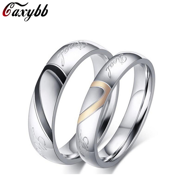 gaxybb stainless steel silver half heart simple circle real love couple ring wedding rings engagement rings - Circle Wedding Rings