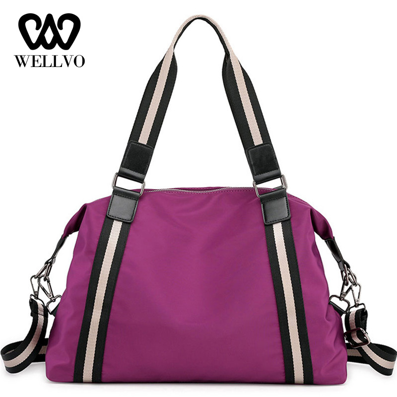 Stripe Travel Bags Women Duffle Luggage Bag Nylon Portable Folding Big Handbags Tote Female Weekend Bags England Pouch XA668WB