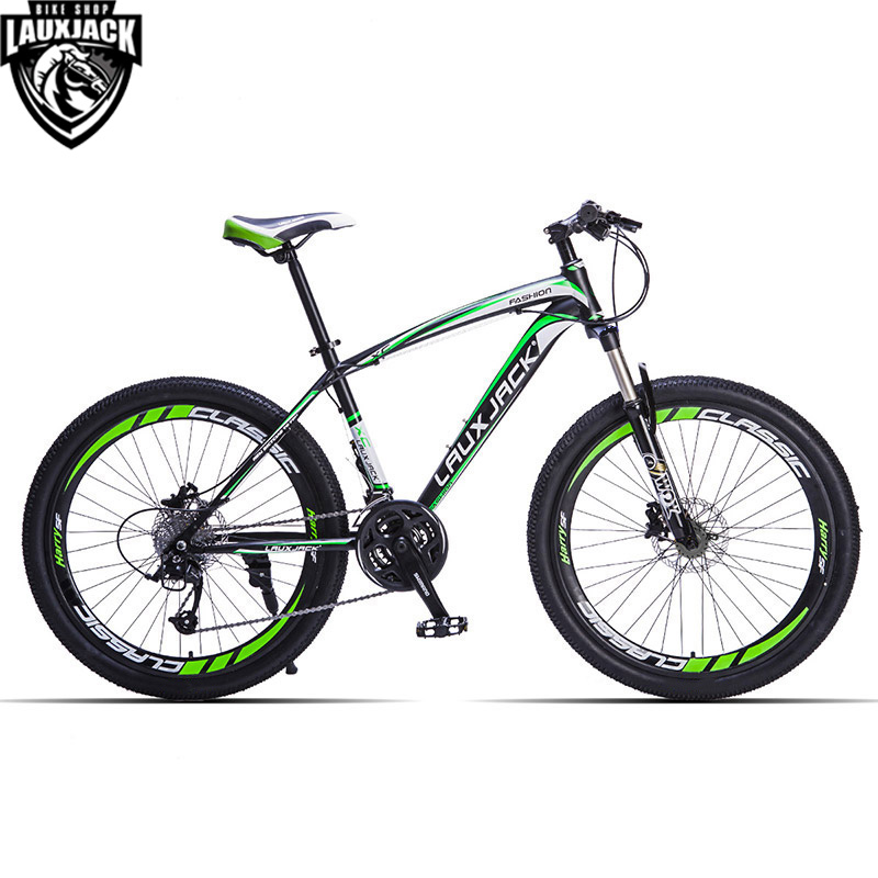 LAUXJACK Mountain Bike Steel Frame 24 Speed Shimano Mechanic Brake 26 Wheel lauxjack mountain fat bike steel frame