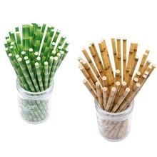 цена 25pcs Green Brown Bamboo Pattern Paper Straws Juice Cocktail Drinking Straw for Wedding Birthday Bar Pub Jungle Party Supplies 7 онлайн в 2017 году