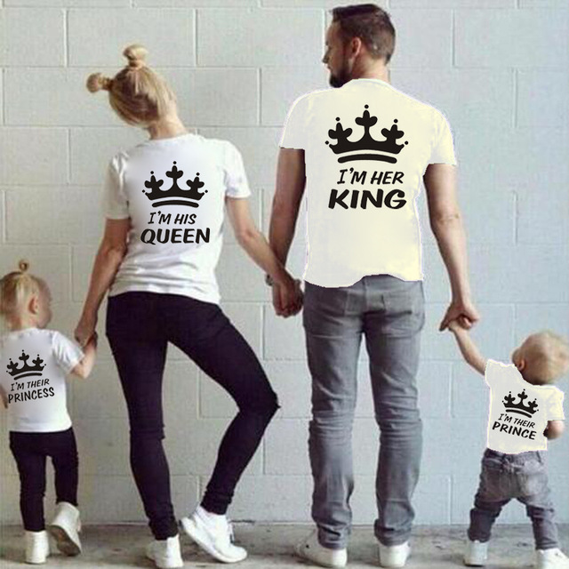 Family matching cotton t shirt crown king queen prince princess t shirts family clothing parent