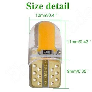 Image 2 - Автомобильный светодиодный светильник T10 W5W, 2/4 шт., 12 в, 194, 168, 2825, лампа s, силиконовая, Cob, автомобильная интерьерная лампа, желтый, оранжевый, красный, белый