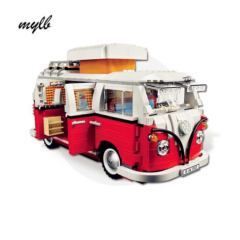 Mylb 1354Pcs Ny Volkswagen T1 Camper Van Modell Byggsatser Tegelstenar Kompatibel med DIY
