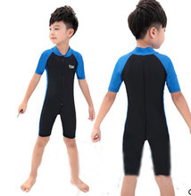 Children One Piece Lycra Short Sleeves Diving RashGuard Beach SwimSuit Boys Breathable UV Protection Surfing Jump Bathing Suit(China)