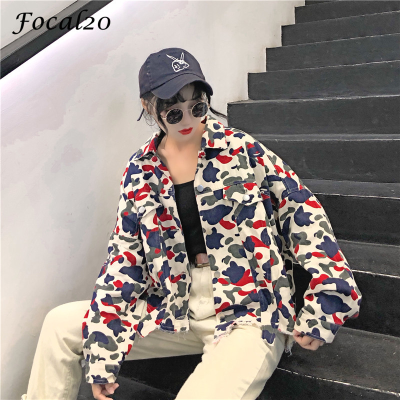 Focal20 Streetwear Camouflage Tassels Ripped Women Jacket Jeans Pockets Turn Down Collar Button Denim Jacket Coat Outwear 2