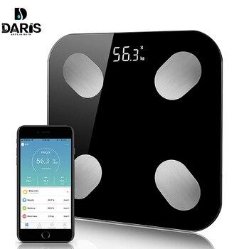 Báscula de cuerpo para el suelo inteligente electrónica LED Digital peso Báscula de baño equilibrio aplicación Bluetooth Android IOS