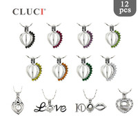 CLUCI 12pcs/set Silver Plated Hot Love Heart Pearl Locket Gift Jewelry for Women Romantic Zircon Pendant Pearl Cage