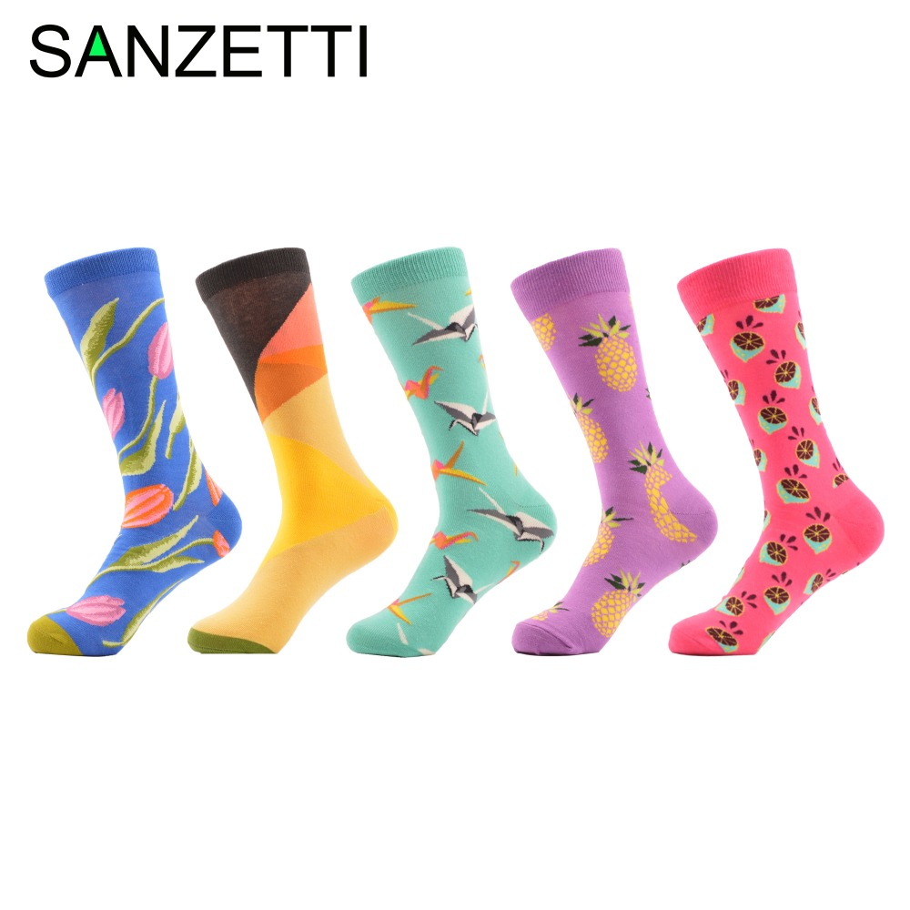 SANZETTI 5 pairs/lot New Colorful Winter Autumn Fashion Mens Skateboard Socks Long Funny Male Cotton Dress Casual Happy Socks