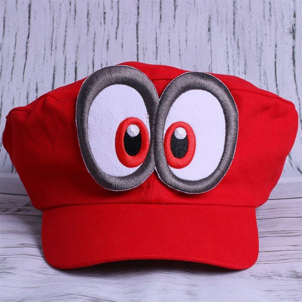 Super Mario Odyssey Hat Cosplay Adult Kids Red Mario Cap Handmade Props New 2