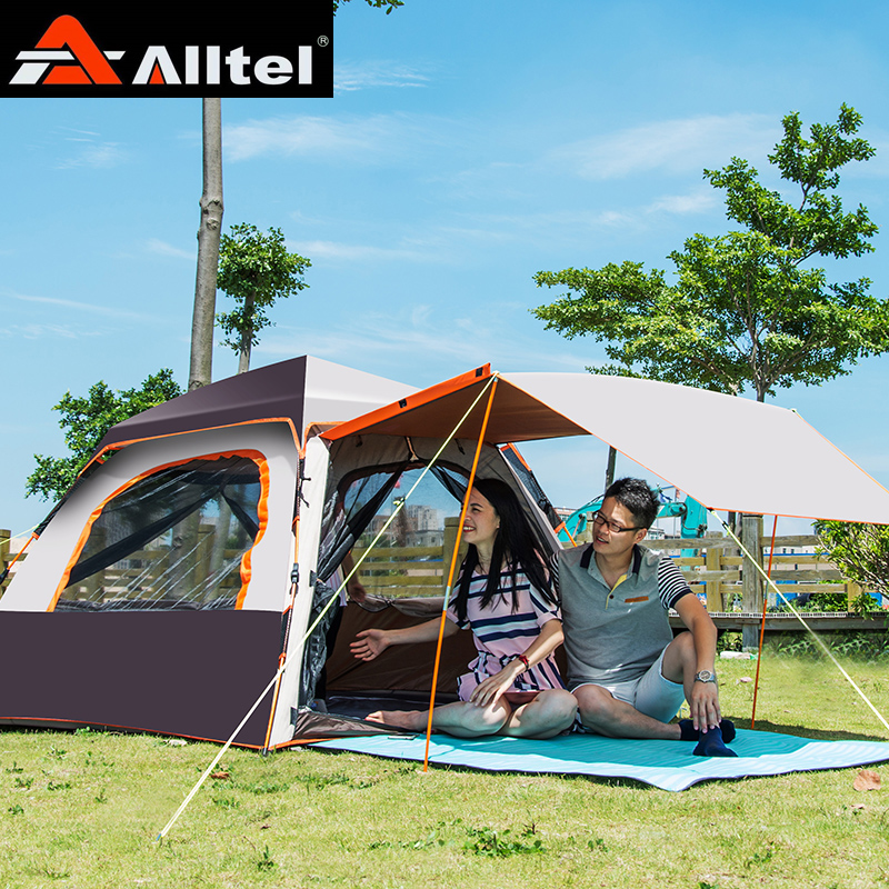 ALLTEL new arrival 2-3-4 persons automatic rain proof, family driving, outdoor double layer camping tent with lengthened awning rain proof double layer camping tent for outdoor activities green