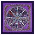 2016 женщин шелковый шарф площади 130 * 130 см европейский женский spring100 % чистого шелка шарфы цветок печать марка фиолетовый шелковый платок