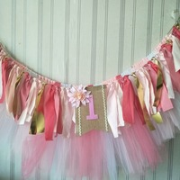 Tahiti Inspired Baby Girl First Year Birthday Party Highchair Banner With Tutu Tassel Garlands Personalized Free Shipping