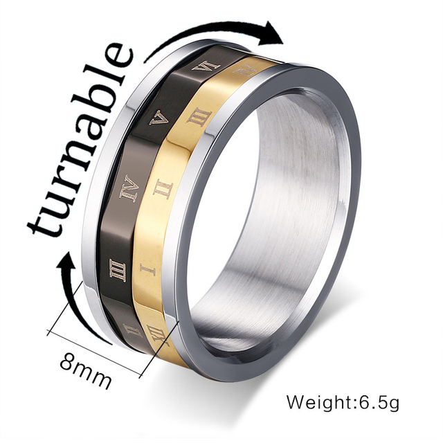 Rome Stainless Steel Finger Rings Men Digital Rotating Ring Retro Jewelry For Wedding Vintage