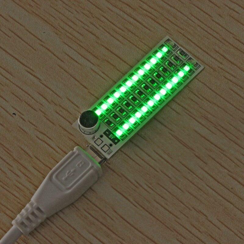 Mising 1 шт. 2x13 светодиодный s модули USB мини музыкальный спектр светодиодный голосовой контроль Чувствительность Регулируемая - Цвет: Зеленый