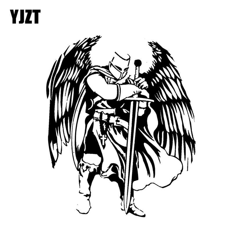 YJZT 12.3*15CM Handsome Warrior Knight Angel Decal Black/Silver Covering The Body Silhoutte Car Sticker Vinyl C20-1568