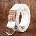 2016 nuevo anillo doble cinturón de lona hombre Correa de lona ocasional Pantalones Vaqueros mujer de moda de doble anillo tipo D hebilla de la moda 18 cinturón de color