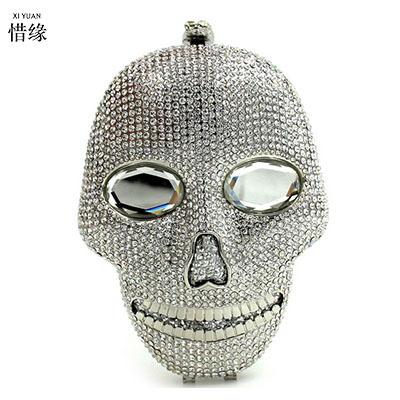 XIYUAN BRAND women Skeleton handbag gold crystal Clutch bag ladies clutch evening bag Wedding purse bride pochette bag silver