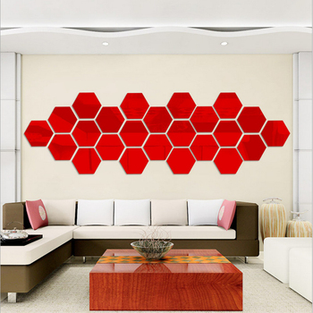 1PC Creative 3D Mirror Wall Sticker Hexagon Home Decor Mirror Stickers Art Wall Decoration Stickers Living Room Wall Decals image