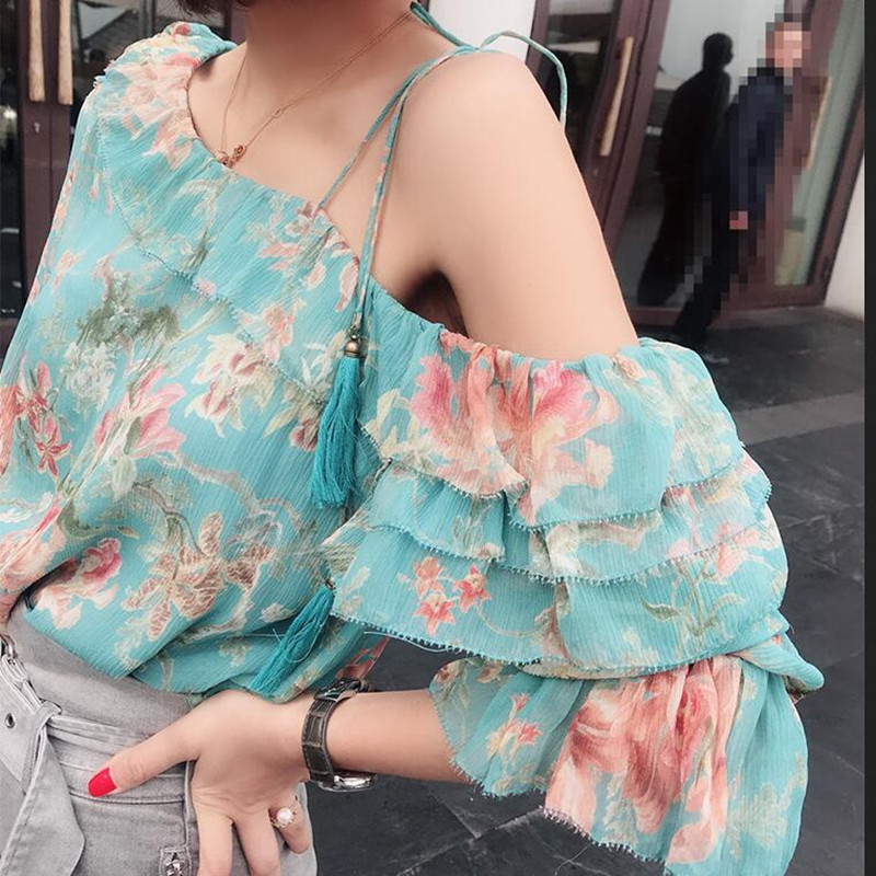все цены на Ruffle Floral Blouse Women Blue Silk Long Sleeve Sexy One Shoulder Top Skew Collar Spring Summer Bohemian Casual Ladies Blusa онлайн
