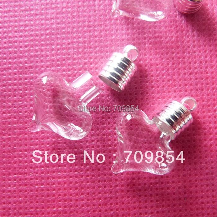 bottle diam 6mm heart shape glass rice vial silver plated cap rubber plug