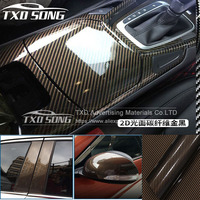 High Glossy Gold Twill 2D carbon fiber vinyl wrap film 2D carbon fiber film for car wrap with size: 1.52*30m with free shipping