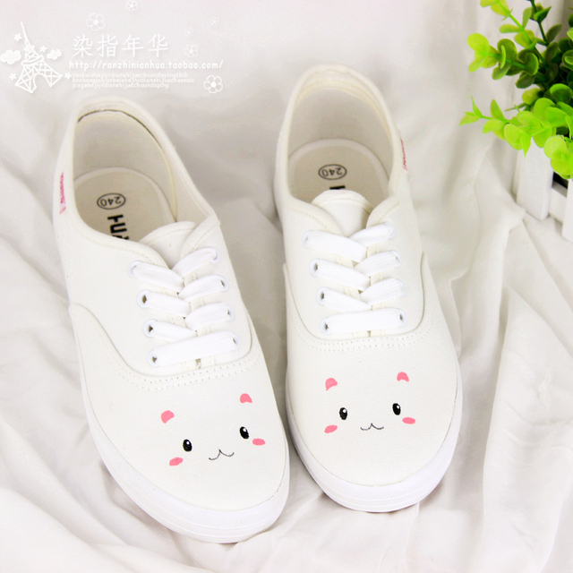 Free shipping 2014 Small fresh soft rabbit HARAJUKU shallow mouth flat shoes canvas hand-printed women canvas shoes