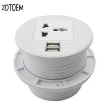 Poder de desktop grommet Zeshan ZSO80 tomada Universal, dois carregadores USB branco mini desktop soquete