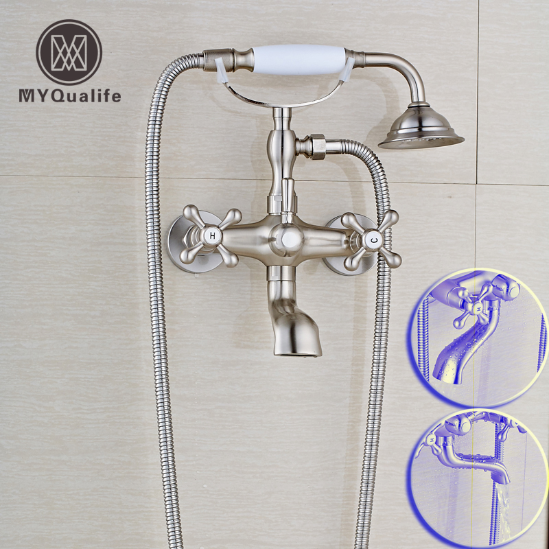 Telephone Style Rotate Tub Spout Bathroom Tub Sink Faucet Wall Mounted Two Handles Hot and Cold Handshower Bathtub Mixers wall mounted bright chrome bathtub sink faucet two cross handles bathroom handheld shower mixers swivel tub spout