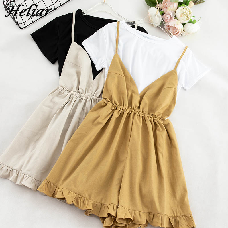 HELIAR Women Playsuits And T-shirt Lady Solid Tees Spaghetti High Waist Rompers Two Pcs Outfits Cloth Summer Female Playsuit