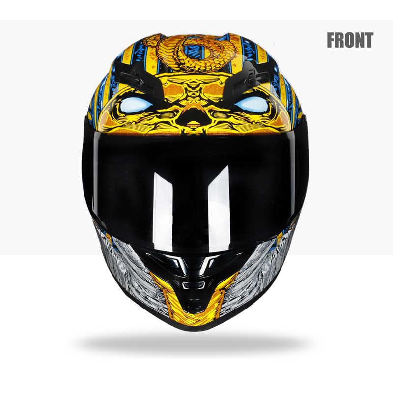 Фараон стиль мотоциклетный шлем для гонок полный уход за кожей лица Шлем Capacete каско мото каск Motocicleta Мотокросс змея DOT утвержден