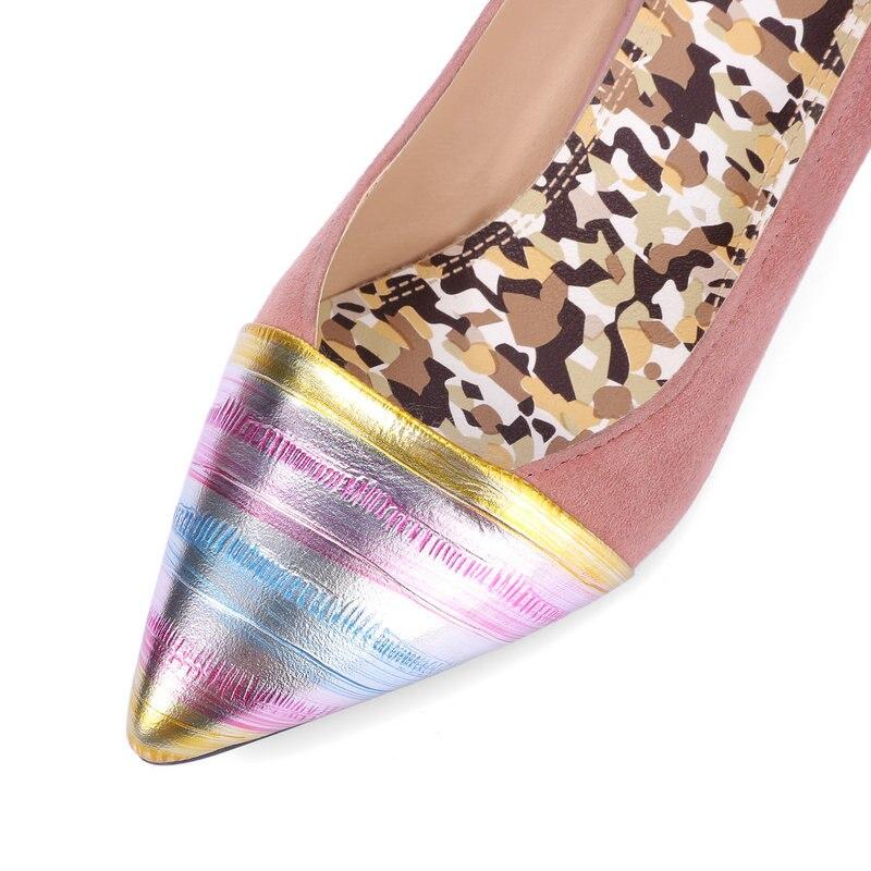 Größe Wildleder Heel Echtes Schuhe Lieblings Pumpt Große Dame rosa Leder High Büro Frauen Spitz 42 Kleid Sexy Schwarzes xwgCXqI6g