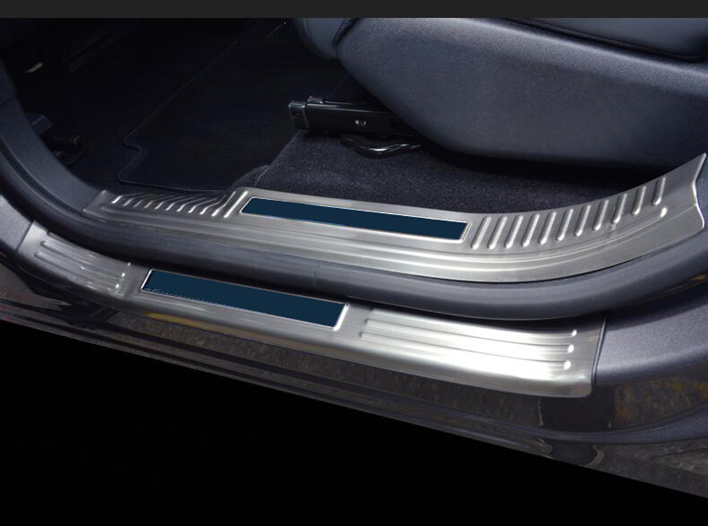 8pcs Stainless Steel Inner & Outer Door Sill Scuff Threshold Plate Cover Trim For Peugeot 5008 5008GT 2017 2018 Car Styling! for hyundai ix35 2010 2011 2013 side door scuff plate threshold pad cover trim sill inner welcome pedal decoration 8pcs auto