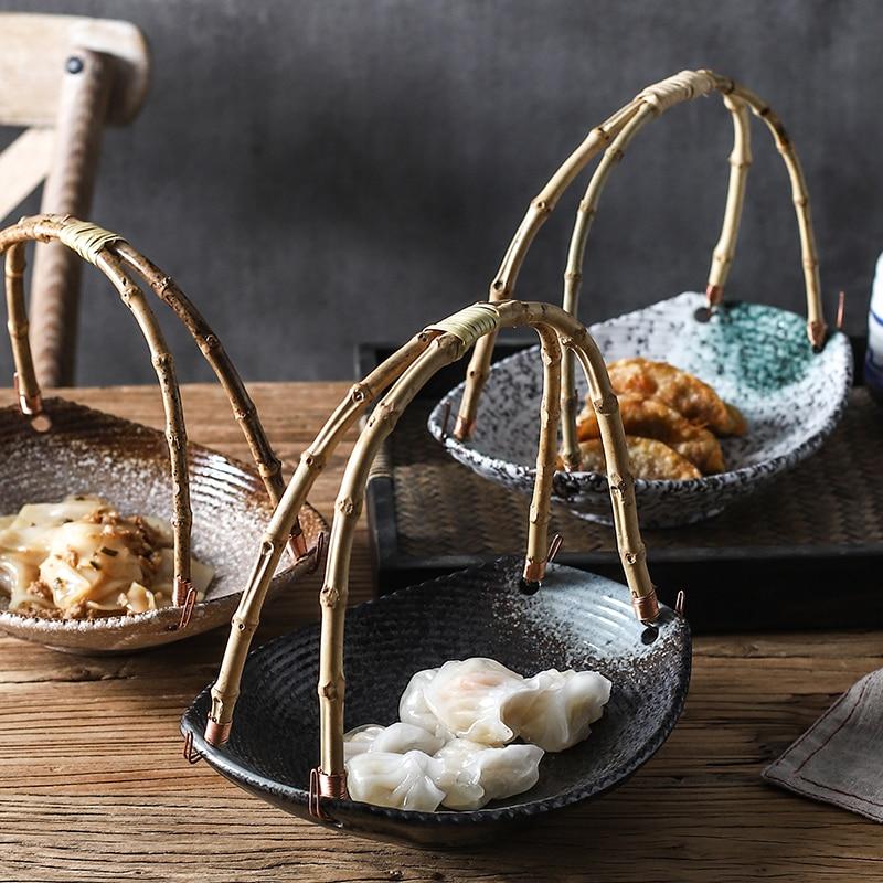 Creative Japanese ceramic plate sushi shop hotel tableware set plates portable bamboo hanging plate fruit basket dinner plates