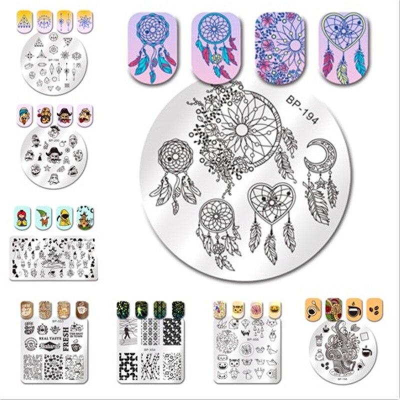 Geometric Reverse Stamping Nail Art Born Pretty Review: BORN PRETTY Stencils For Nails Geometry Stripes Cat Tiger