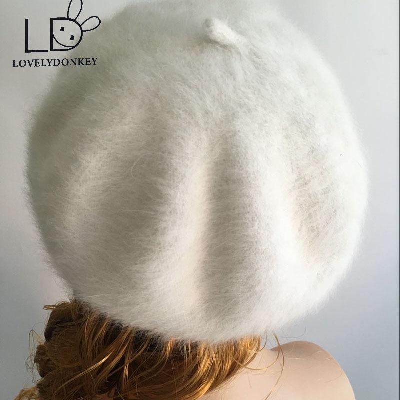LOVELYDONKEYwomen Felpa visón de cachemira Beret Señoras tejer a mano sombreros Invierno cálido gorro de lana envío gratis M257