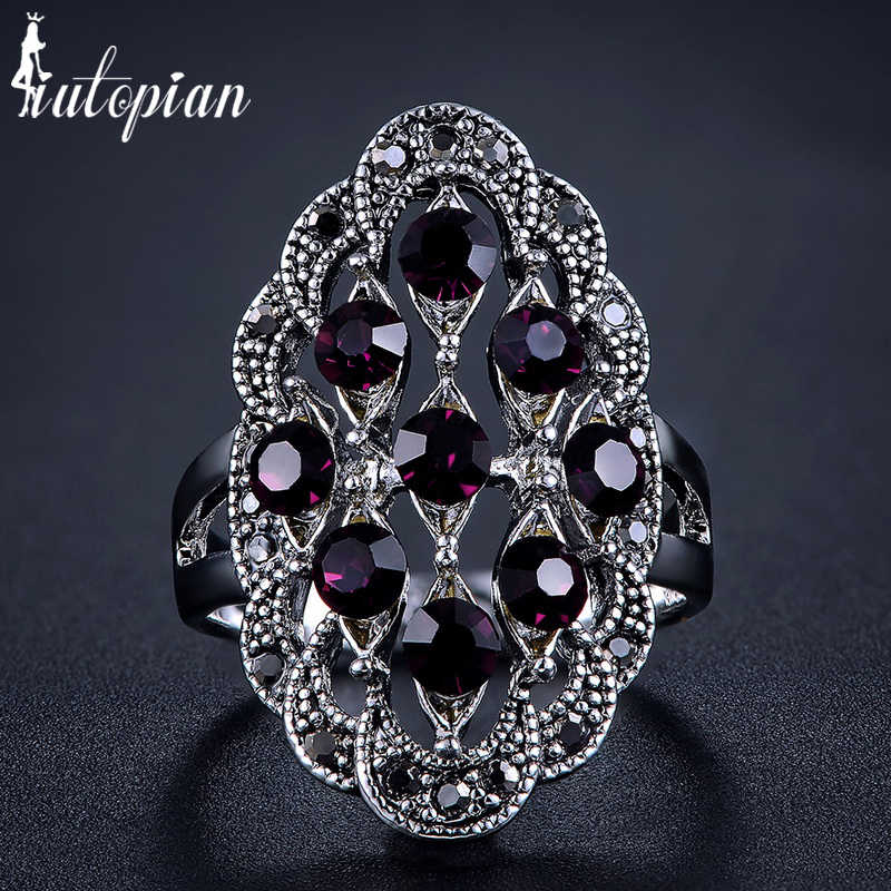 Iutopian Brand Hot Sale Vintage Retro Ring Anels For Women 5 Colors  Antique With Shinning Crystal Top Quality #1821