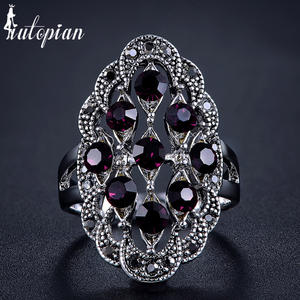 Iutopian Vintage Retro Ring-Anels Antique Women Brand Crystal Hot-Sale 5-Colors for