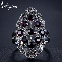 Iutopian Brand New Arrival Amazing 4 Colors Vintage Retro Ring Anels For Women Antique With Shinning Crystal Top Quality #1821