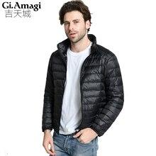Chaquetas de los hombres de gran tamaño 90% pato abajo chaqueta Ultra ligero Delgado casaca plumas escudo hombre moda abrigo Parka chaqueta pluma