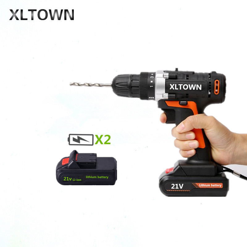 XLTOWN 21V Cordless Electric Screwdriver with 2 battery Rechargeable Lithium Battery Hand Drill Electric Drill Power Tools xltown new 21v rechargeable lithium battery electric screwdriver with 2 battery high quality electric drill tools free shipping