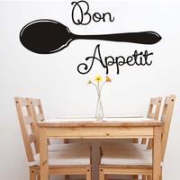 Vinyl Wall Stickers Quote Bon Appetit Spoon Dinning Room Decor Kitchen Decals Art Kitchen Adhesive Wall