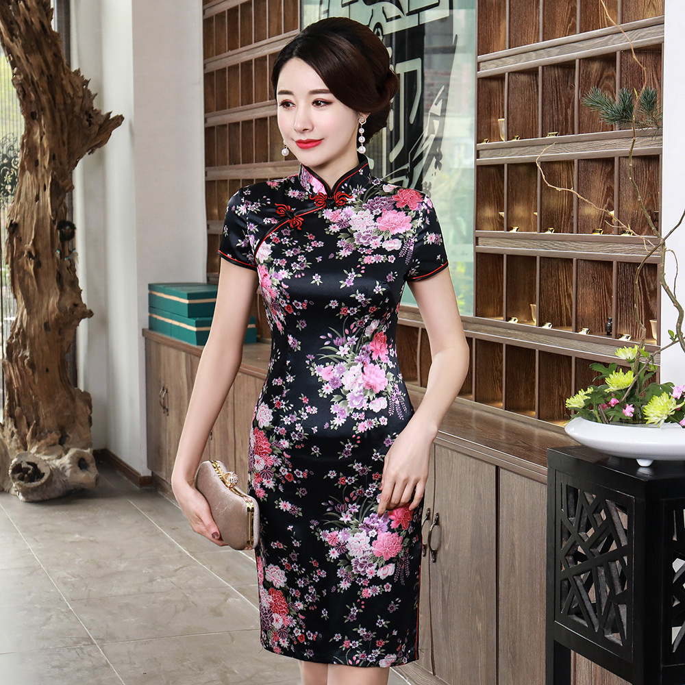Black <font><b>Sexy</b></font> Slim Women Satin Cheongsam <font><b>Chinese</b></font> Style Vintage Evening <font><b>Dress</b></font> Oversize Print Floral Short Qipao Vestidos S-6XL image