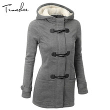 Coat Women 2017 Timechee Warm Comfort Basic Long Length Slim Solid Color Horn Button Thin Hooded SLL0395