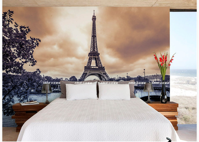 High Quality French Paris Tower Wallpaper 3d Custom Size Retro Large Mural Wallpaper TV  Background Bedroom Wallapper To