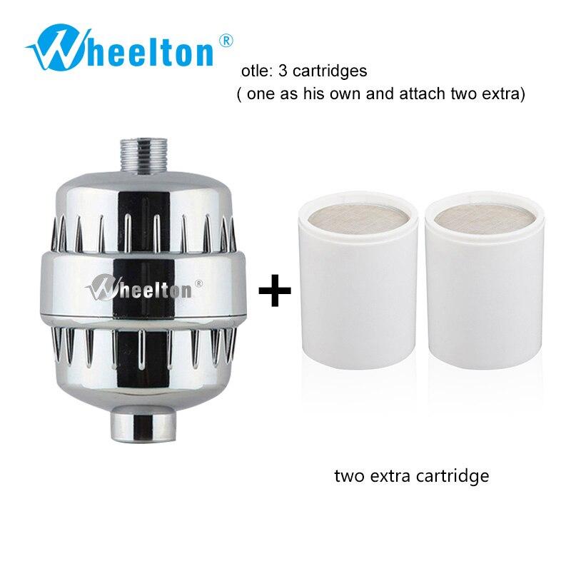 Wheelton Purificador Filtro de Água KDF + Banho de Chuveiro Amaciante de sulfito de Cálcio Cloro Remoção 2 Anexar filtros extras