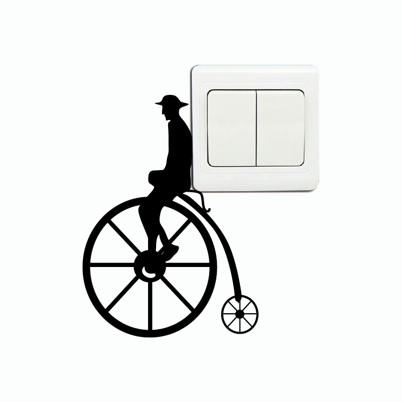 KG-285 Victorian Bicycle Wall Decal - Retro Bike Vinyl WallSticker - Vintage Switch Sticker Home Wallpaper